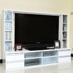 壁面収納テレビ台/テレビボード 【ハイタイプ 幅180cm】 ホワイト 60インチ液晶TV対応 リビング収納の画像