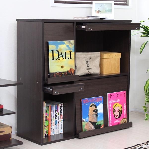 ディスプレイラック 本棚 フラップ 4枚扉 収納棚 マガジンラック シェルフ ブラウン