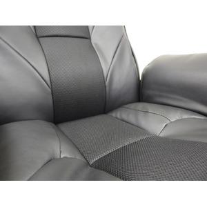 42段リクライニング 回転座椅子 【ブラック】 幅73cm 肘付き PVCレザー メッシュ スチールパイプ ウレタン 『サンライト』