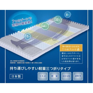 カラーフォーム 軽量 敷布団 かため 体圧分散 通気性 マットレス シングル 厚み8cm 洗えるカバー 日本製 7ゾーン ライトグレー