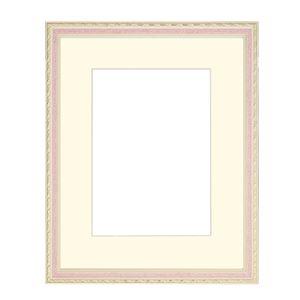 水彩額/水彩画額縁 【水彩F8 ピンク】 縦54.9cm×横63.4cm×高さ2.9cm 表面カバー:ガラス 紐用金具付き 木製