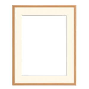 水彩額/水彩画額縁 【水彩F8 ナチュラル】紙マット 吊金具付き 木製