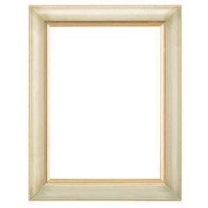 シンプル仕様 油絵額縁/油彩額縁 【F4 アイボリー】 表面カバー:アクリル 吊金具付き 木製