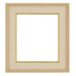 色紙額縁/フレーム 【ナラ ベージュ】 縦36.8cm×横41cm×高さ3.4cm 表面カバー:ガラス 刃先面金 吊金具付き 樹脂製