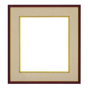 色紙額縁/フレーム 【ブラウン ベージュ】 縦36.7cm×横40.5cm×高さ3.4cm 表面カバー:ガラス 刃先面金 吊金具付き 樹脂製