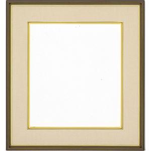 色紙額縁/フレーム 【よもぎ ベージュ】 縦36.7cm×横40.5cm×高さ3.4cm 表面カバー:ガラス 刃先面金 吊金具付き 樹脂製
