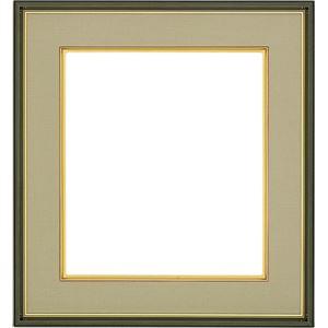色紙額縁/フレーム 【オリーブ ウグイス】 縦36.7cm×横40.5cm×高さ3.4cm 表面カバー:ガラス 刃先面金 吊金具付き 樹脂製