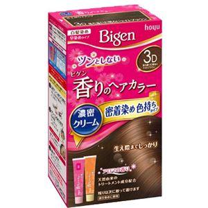 ホーユー ビゲン 香りのヘアカラー クリーム 3D 落ち着いた明るいライトブラウン × 3 点セット