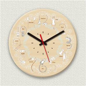 壁掛け時計/デザインクロック 【ネコ文字】 直径30cm 木材/メープル調素材 『MYCLO』 〔インテリア雑貨 贈り物 什器〕
