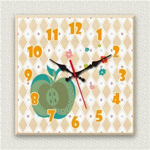 壁掛け時計/デザインクロック 【ガーリーアップル】 30cm角 木材/メープル調素材 『MYCLO』 〔インテリア雑貨 贈り物 什器〕