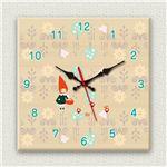 壁掛け時計/デザインクロック 【小人】 30cm角 木材/メープル調素材 『MYCLO』 〔インテリア雑貨 贈り物 什器〕の画像