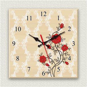 壁掛け時計/デザインクロック 【薔薇】 30cm角 木材/メープル調素材 『MYCLO』 〔インテリア雑貨 贈り物 什器〕