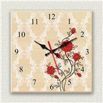 壁掛け時計/デザインクロック 【薔薇】 30cm角 木材/メープル調素材 『MYCLO』 〔インテリア雑貨 贈り物 什器〕の画像