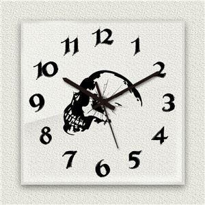 壁掛け時計/デザインクロック 【スカル】 30cm角 アクリル素材 『MYCLO』 〔インテリア雑貨 贈り物 什器〕