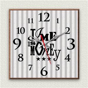 壁掛け時計/デザインクロック 【Time is money】 30cm角 木材/ウォールナット調 『MYCLO』 〔インテリア雑貨 贈り物 什器〕