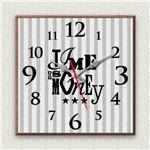 壁掛け時計/デザインクロック 【Time is money】 30cm角 木材/ウォールナット調 『MYCLO』 〔インテリア雑貨 贈り物 什器〕の画像