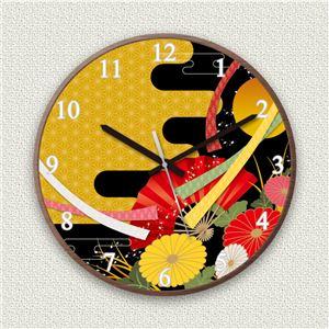 壁掛け時計/デザインクロック【和風01】直径30cm木材/ウォールナット調素材『MYCLO』〔インテリア雑貨贈り物什器〕