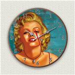 壁掛け時計/デザインクロック 【M・M】 直径30cm 木材/ウォールナット調素材 『MYCLO』 〔インテリア雑貨 贈り物 什器〕の画像