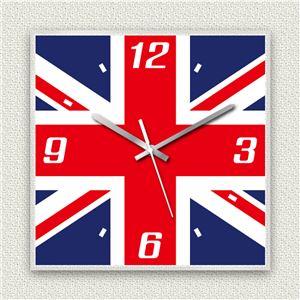 壁掛け時計/デザインクロック 【イギリス国旗】 30cm角 アクリル素材 『MYCLO』 〔インテリア雑貨 贈り物 什器〕