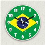 壁掛け時計/デザインクロック 【ブラジル国旗】 直径30cm アクリル素材 『MYCLO』 〔インテリア雑貨 贈り物 什器〕