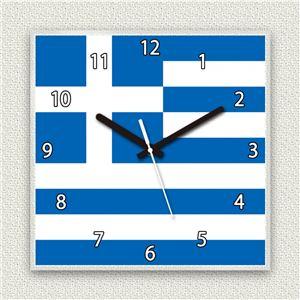 壁掛け時計/デザインクロック 【ギリシャ国旗】 30cm角 アクリル素材 『MYCLO』 〔インテリア雑貨 贈り物 什器〕