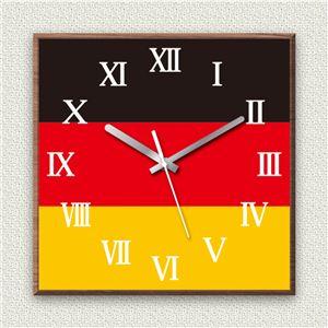 壁掛け時計/デザインクロック 【ドイツ国旗】 30cm角 木材/ウォールナット調素材 『MYCLO』 〔インテリア雑貨 贈り物 什器〕