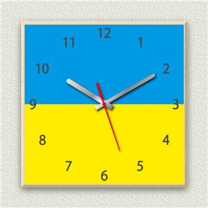 壁掛け時計/デザインクロック 【ウクライナ国旗】 30cm角 木材/メープル調素材 『MYCLO』 〔インテリア雑貨 贈り物 什器〕 商品画像