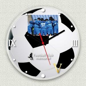 フォトフレーム時計/デザインクロック【サッカー】幅30cmアクリル製L版『MYCLO』〔送別品記念品贈り物〕