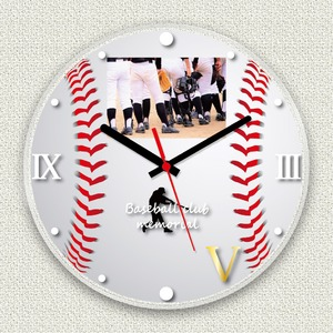 フォトフレーム時計/デザインクロック 【野球】 幅30cm アクリル製 L版 『MYCLO』 〔送別品 記念品 贈り物〕