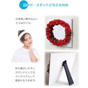 花笑みフラワーリースミラー(赤花・白木板)
