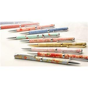 日本製 美濃和紙(友禅紙) ハンドメイドボールペン 桜と流水/黄緑色