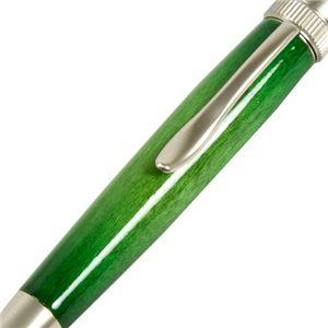 日本製 Air Brush Wood Pen キャンディカラー ボールペン(ギター塗装)【パーカータイプ/芯:0.7mm】Green/カーリーメイプル