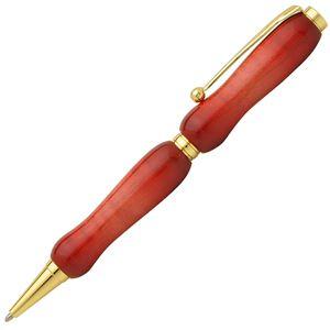 日本製 Air Brush Wood Pen キャンディカラー ボールペン(ギター塗装)【クロスタイプ/芯:0.7mm】Red/カーリーメイプル