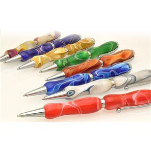 日本製 アクリルボールペン Marble Pen【クロスタイプ/芯:0.7mm】フローホワイト/White×Brown