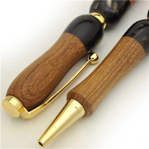 日本製 Acrylic&Woodハンドメイドボールペン 【クロスタイプ/芯:0.7mm】チーク×GY ビターチーク