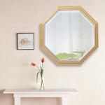 ビーチ材フレーム ウォールミラー/壁掛け鏡 【No.2】 正八角形型 飛散防止加工