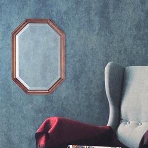 八角型 ウォールミラー/壁掛け鏡 【幅35cm×奥行2.5cm×高さ50cm】 ダークブラウン 飛散防止加工