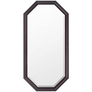 八角型 ウォールミラー/壁掛け鏡 【幅35cm×奥行2.5cm×高さ70cm】 ダークブラウン 飛散防止加工