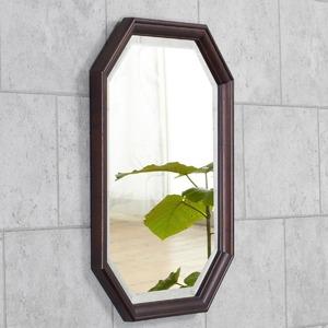 八角型 ウォールミラー/壁掛け鏡 【幅45cm×奥行2.5cm×高さ55cm】 ダークブラウン 飛散防止加工