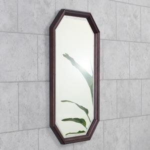 八角型 ウォールミラー/壁掛け鏡 【幅45cm×奥行2.5cm×高さ70cm】 ダークブラウン 飛散防止加工