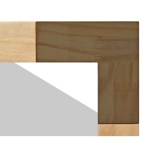 ナチュラルテイスト デスクミラー/卓上鏡 【ブラウン】 幅30cm 枠:パイン材 飛散防止加工 『KACCO』