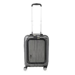 フロントオープン スーツケース/キャリーバッグ 【ブラックヘアライン】 35L 機内持ち込みサイズ 『アクタス ポライト』