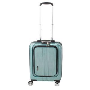 フロントオープン スーツケース/キャリーバッグ 【グリーンヘアライン】 35L 機内持ち込みサイズ 『アクタス ポライト』