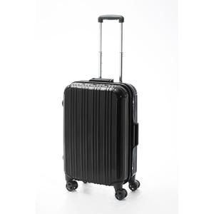 ツートンカラー スーツケース/キャリーバッグ 【Mサイズ ブラック/ブラック】 52L 『アクタス』