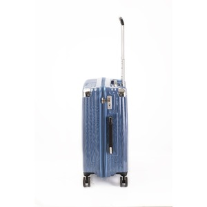 スーツケース/キャリーバッグ 【ジッパー式 ブルーシルバーヘアライン】 Mサイズ 60L 『トラベリスト ストロークII』