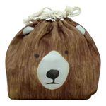【3個セット】 動物柄 お弁当袋/ランチバッグ 【クマ】 幅25.5cm 内側:アルミシート仕様 『オカオキンチャク』