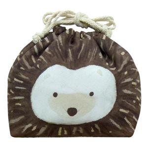 【3個セット】 動物柄 お弁当袋/ランチバッグ 【ハリネズミ】 幅25.5cm 内側:アルミシート仕様 『オカオキンチャク』