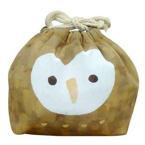 【3個セット】 動物柄 お弁当袋/ランチバッグ 【フクロウ】 幅25.5cm 内側:アルミシート仕様 『オカオキンチャク』