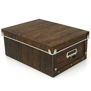 【6個セット】 マルチ収納ボックス/収納箱 【M ブラウン】 幅22cm×奥行30cm×高さ12.5cm 『アンティークスタイルボックス』