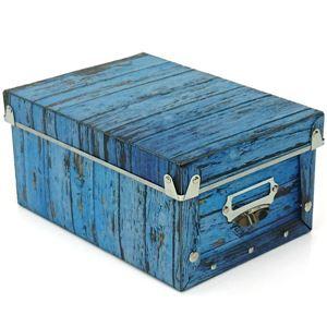 【6個セット】 マルチ収納ボックス/収納箱 【S ブルー 】 幅17cm×奥行24cm×高さ12cm 『アンティークスタイルボックス』